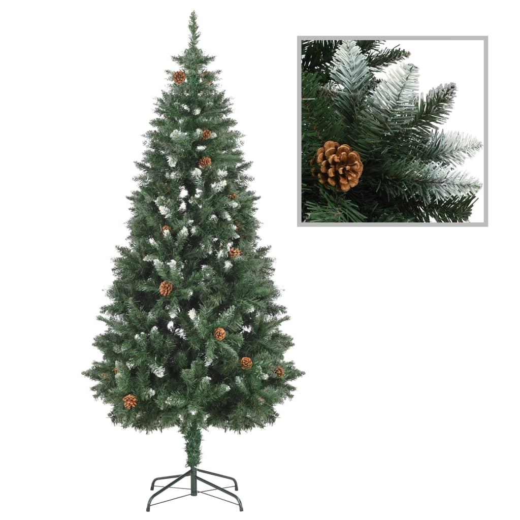 vidaXL Brad de Crăciun artificial cu conuri pin și sclipici alb 180 cm poza 2021 vidaXL