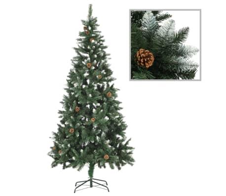 vidaXL Kunstkerstboom met dennenappels en wit glitter 210 cm