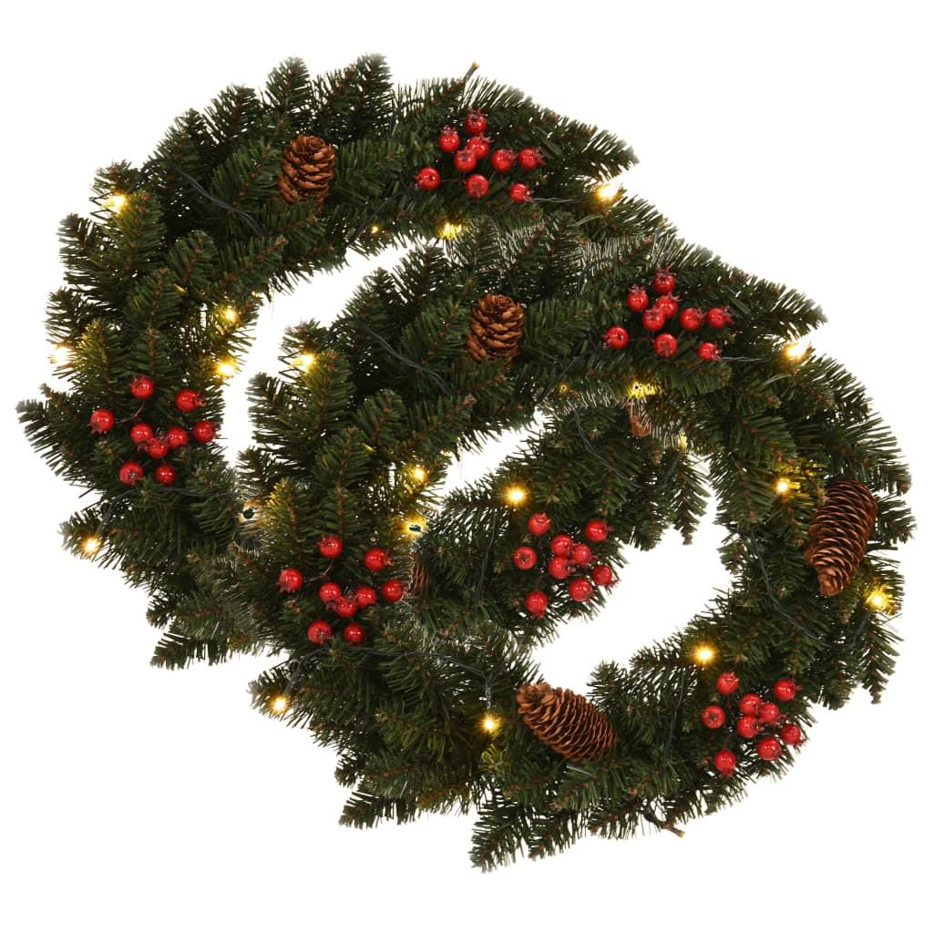 vidaXL Coronițe de Crăciun cu decorațiuni, 2 buc., verde, 45 cm vidaxl.ro