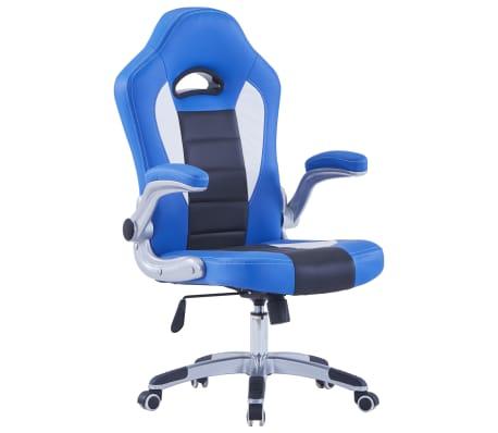 vidaXL Herní židle modrá umělá kůže