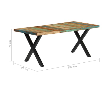 vidaXL Eettafel 180x90x76 cm massief gerecycled hout[9/13]