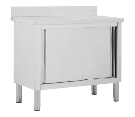 vidaXL Keittiön työpöytä liukuovilla 100x50x95 cm ruostumaton teräs
