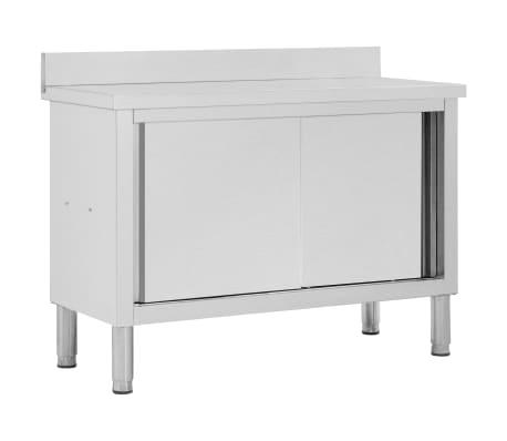vidaXL Table de travail avec portes coulissantes 120x50x95 cm Inox