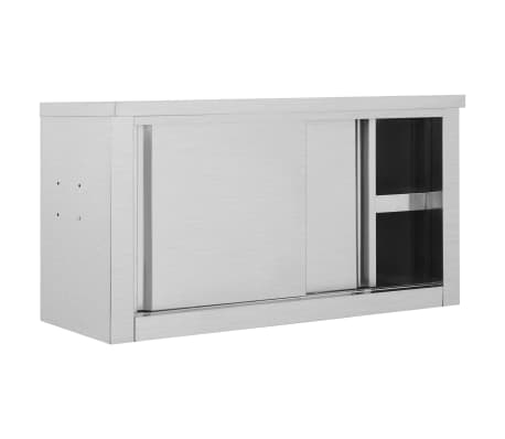 vidaXL Kitchen Wall Cabinet with Sliding Doors Stainless ...