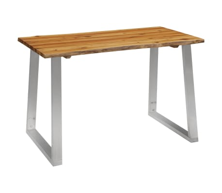 vidaXL Dining Table 120x65x75 cm Solid Acacia Wood and Stainless Steel