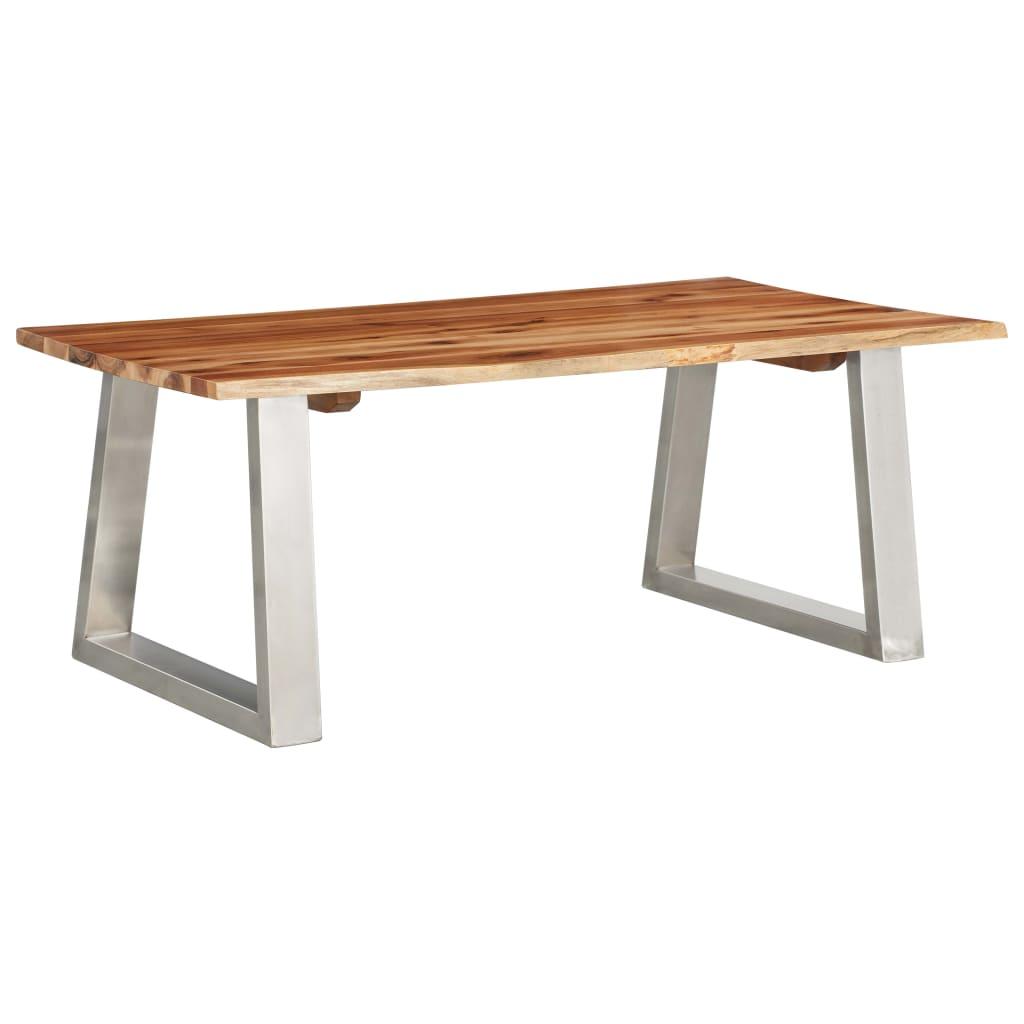 vidaXL Masă de cafea, 100x60x40 cm, lemn de acacia & oțel inoxidabil imagine vidaxl.ro