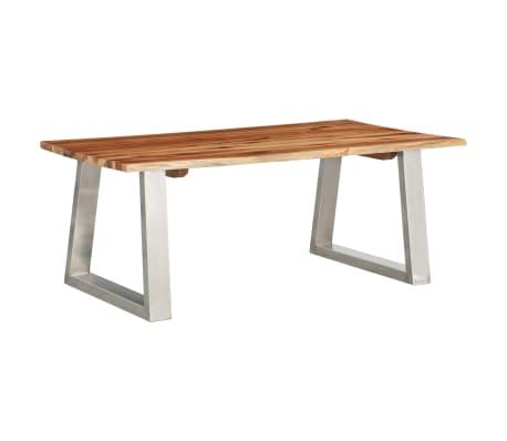 vidaXL Masă de cafea, 100x60x40 cm, lemn de acacia & oțel inoxidabil
