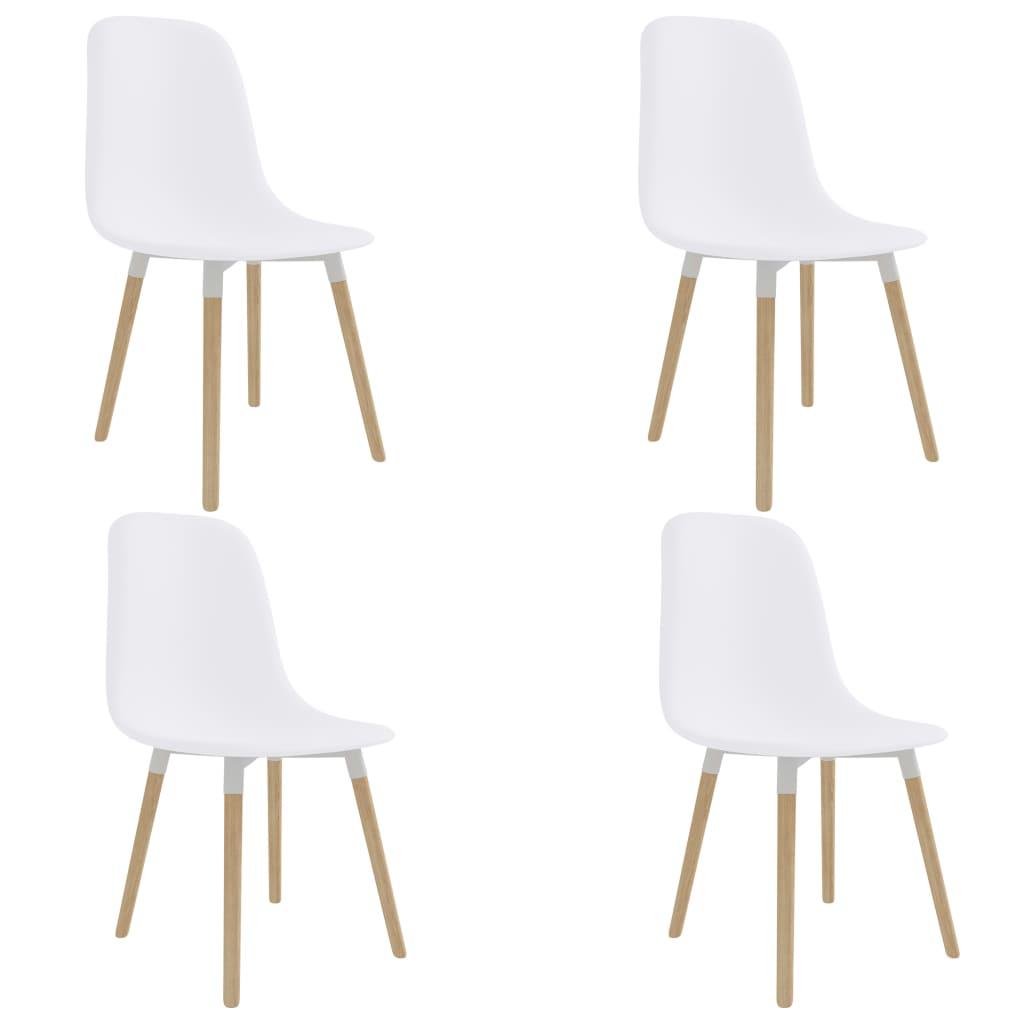 vidaXL Καρέκλες Τραπεζαρίας 4 τεμ. Λευκές Πλαστικές