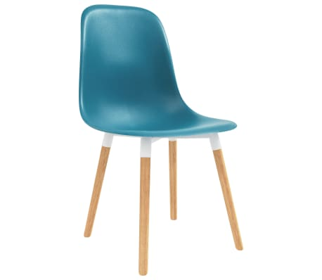 The chairs have an ergonomically designed seat with integrated backrest in a modern, curved look. Made of robust plastic and supported by solid wooden legs, these attractive chairs are sturdy and durable. Additionally, they are easy to assemble.