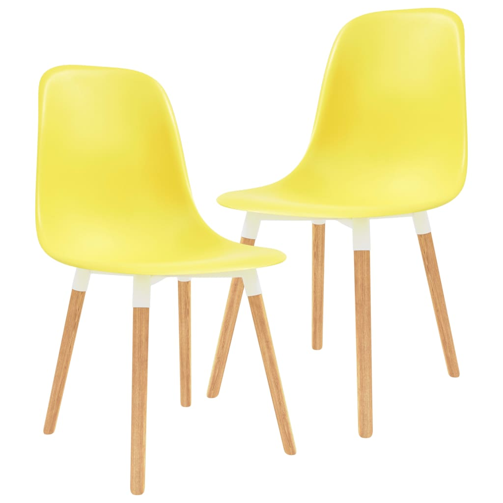 vidaXL Καρέκλες Τραπεζαρίας 2 τεμ. Κίτρινες Πλαστικές