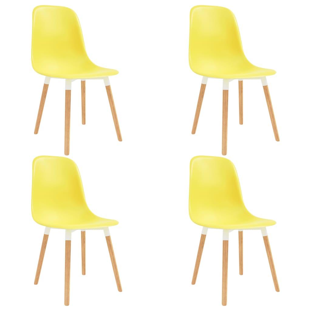vidaXL Καρέκλες Τραπεζαρίας 4 τεμ. Κίτρινες Πλαστικές