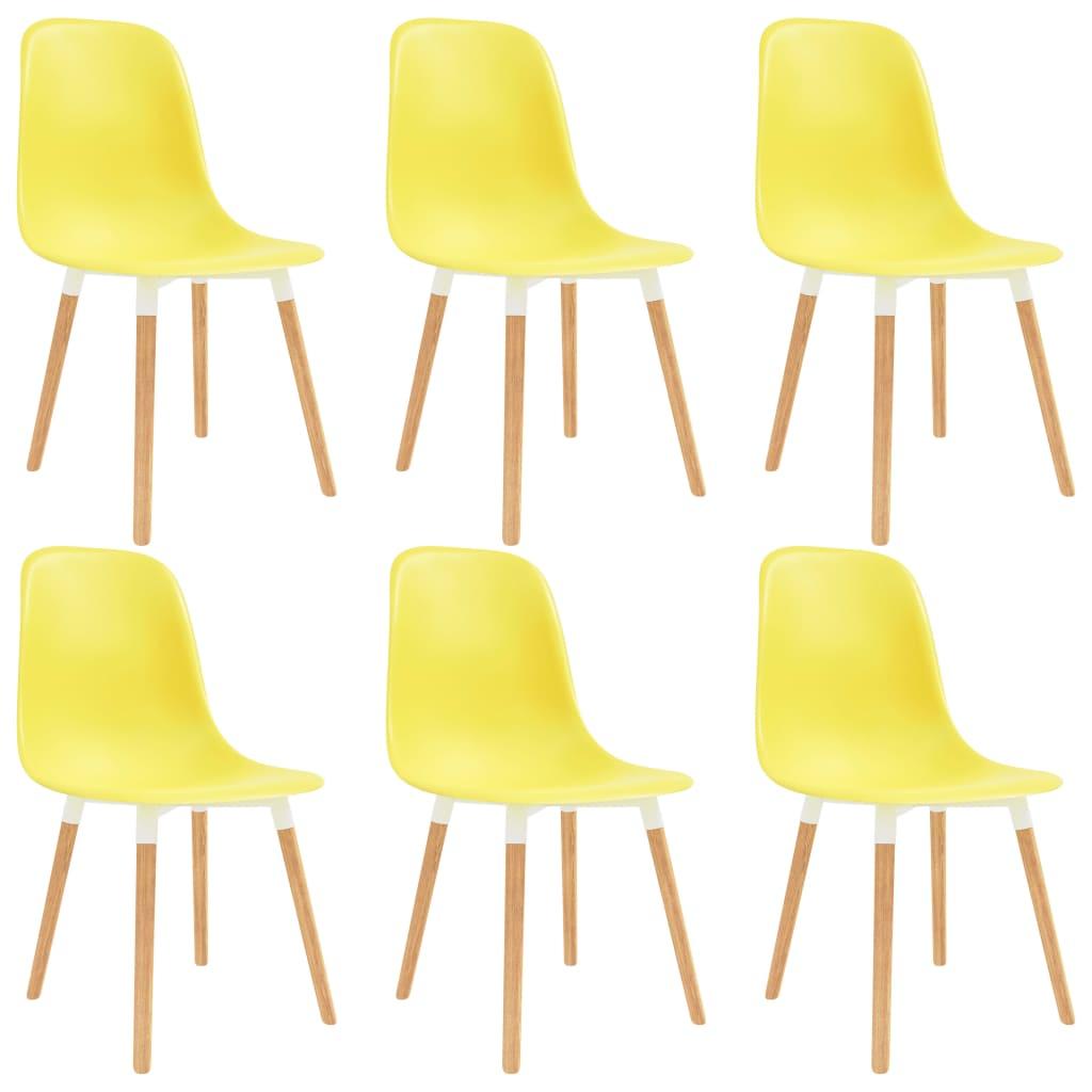 vidaXL Καρέκλες Τραπεζαρίας 6 τεμ. Κίτρινες Πλαστικές
