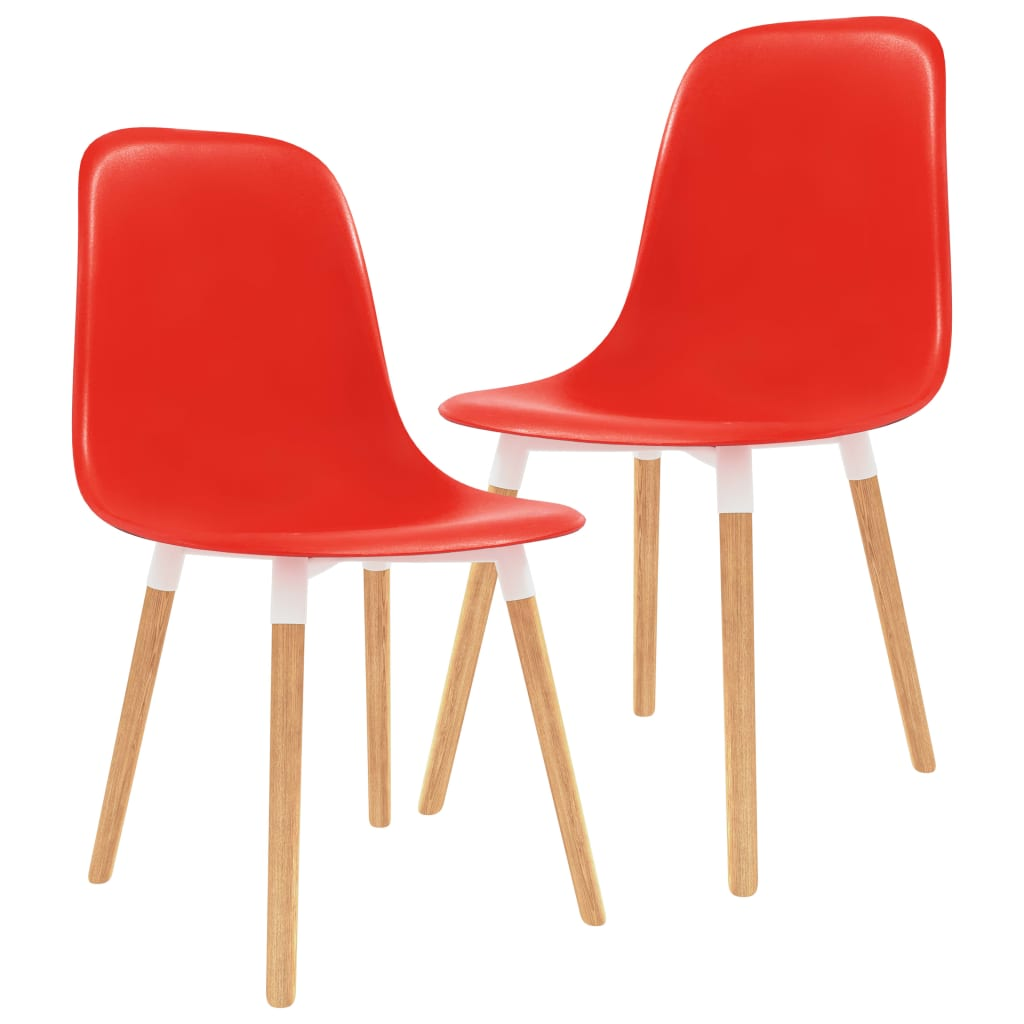 vidaXL Jídelní židle 2 ks červené plast