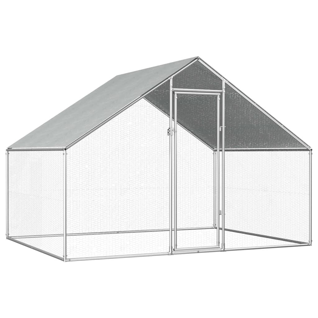 vidaXL Coteț de exterior pentru păsări, 2,75x2x1,92 m, oțel galvanizat vidaxl.ro