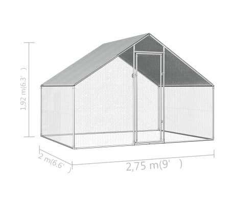 vidaXL Outdoor Chicken Cage 9'x6.6'x6.6' Galvanized Steel[6/6]