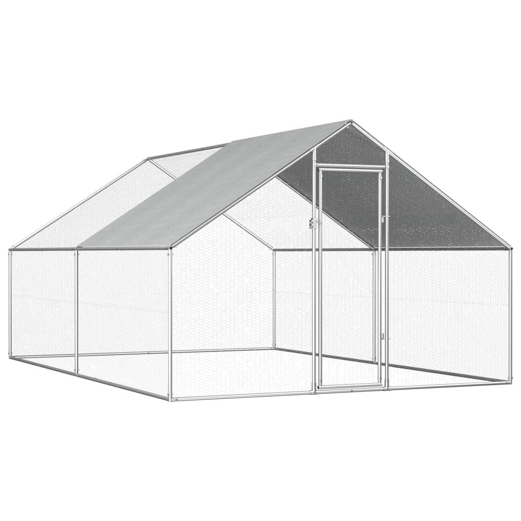 vidaXL Coteț de exterior pentru păsări, 2,75x4x1,92 m, oțel galvanizat poza 2021 vidaXL