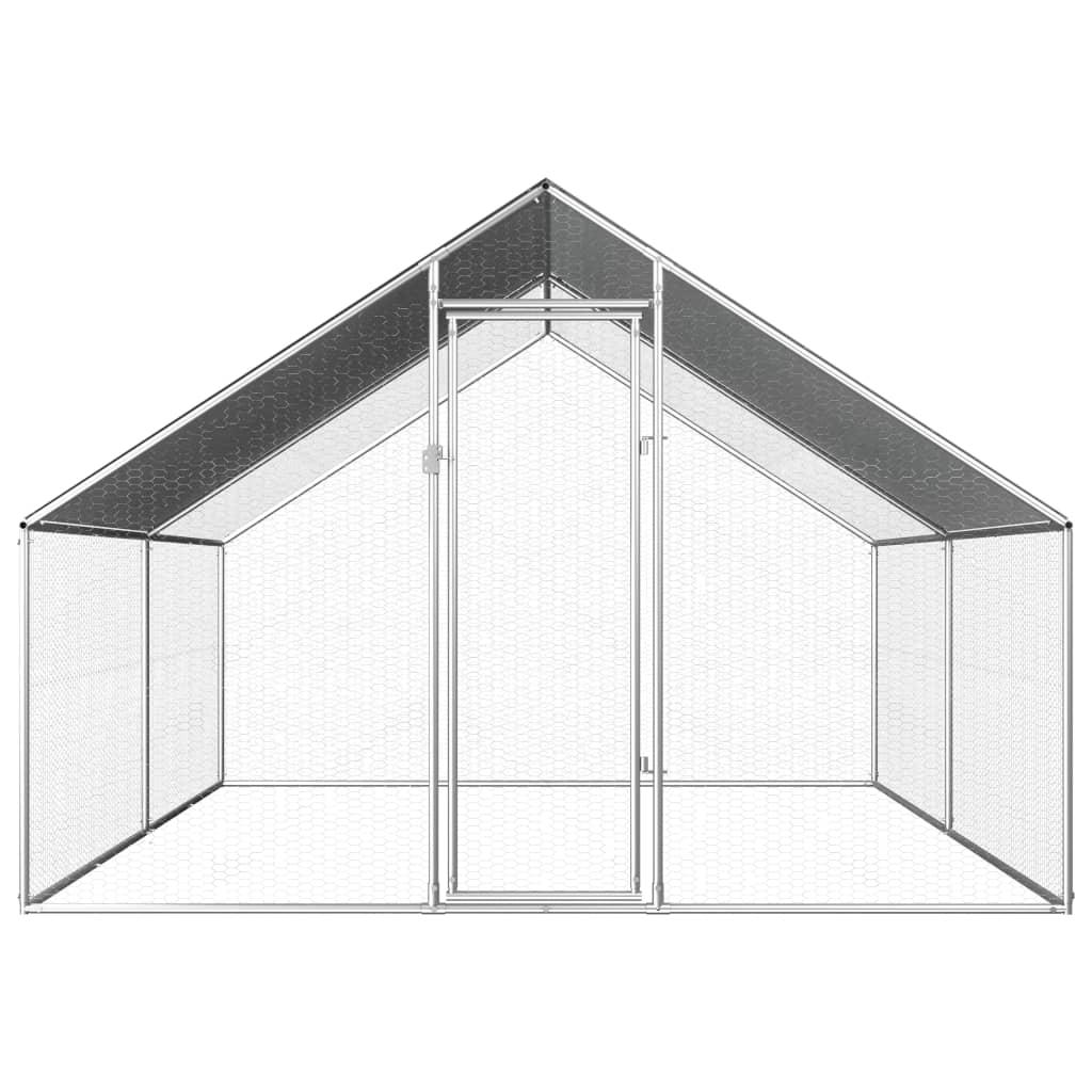 vidaXL Buitenhok voor kippen 2,75x4x2 m gegalvaniseerd staal