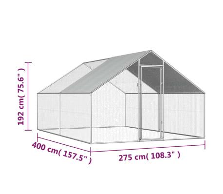 vidaXL Outdoor Chicken Cage 9'x13.1'x6.6' Galvanized Steel[6/6]