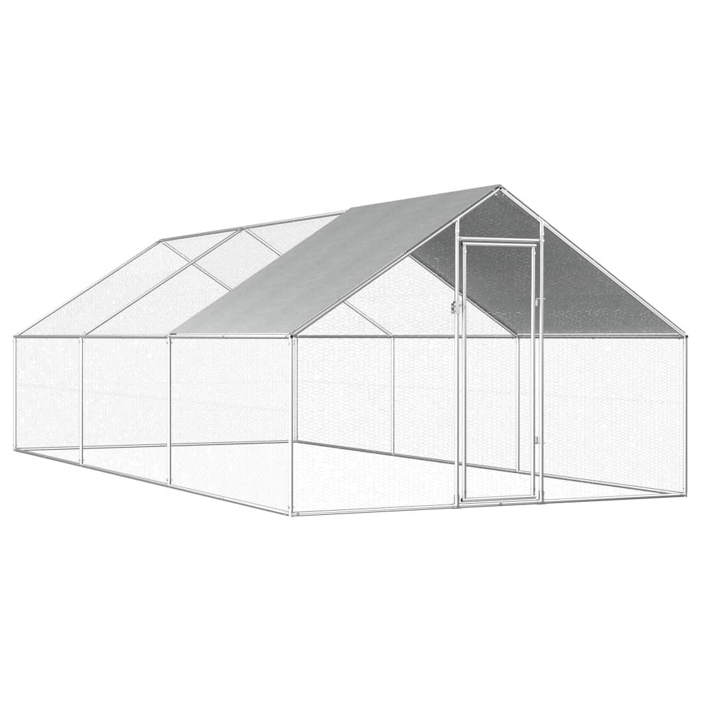 vidaXL Coteț de exterior pentru păsări, 2,75x6x1,92 m, oțel galvanizat poza 2021 vidaXL