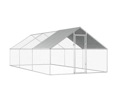 """vidaXL Outdoor Chicken Cage 9'x19.7'x6'3"""" Galvanized Steel"""