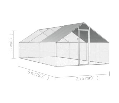 vidaXL Buitenhok voor kippen 2,75x6x2 m gegalvaniseerd staal[6/6]