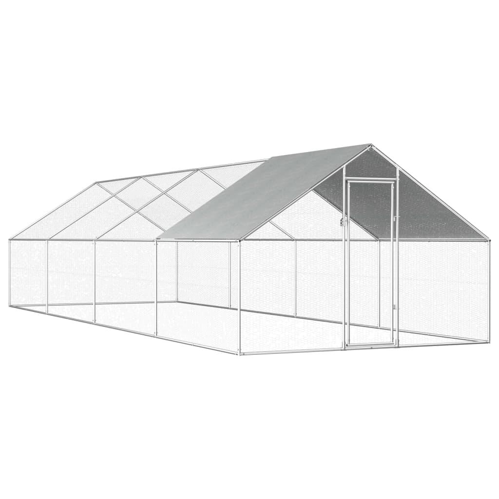 vidaXL Coteț de exterior pentru păsări, 2,75x8x1,92 m, oțel galvanizat poza vidaxl.ro