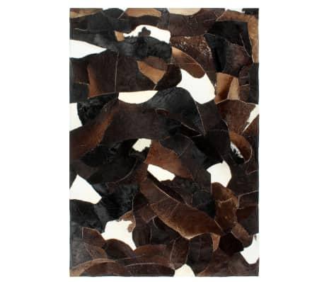 vidaXL vaip ehtne karvane nahk lapitehnika 80x150 cm must/valge/pruun