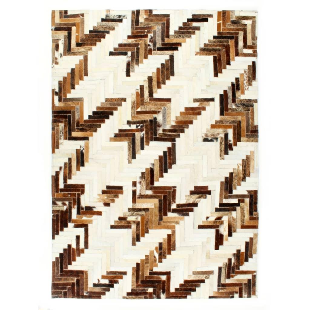 vidaXL Covor, piele cu păr natural, mozaic, maro/alb, 80 x 150 cm poza vidaxl.ro