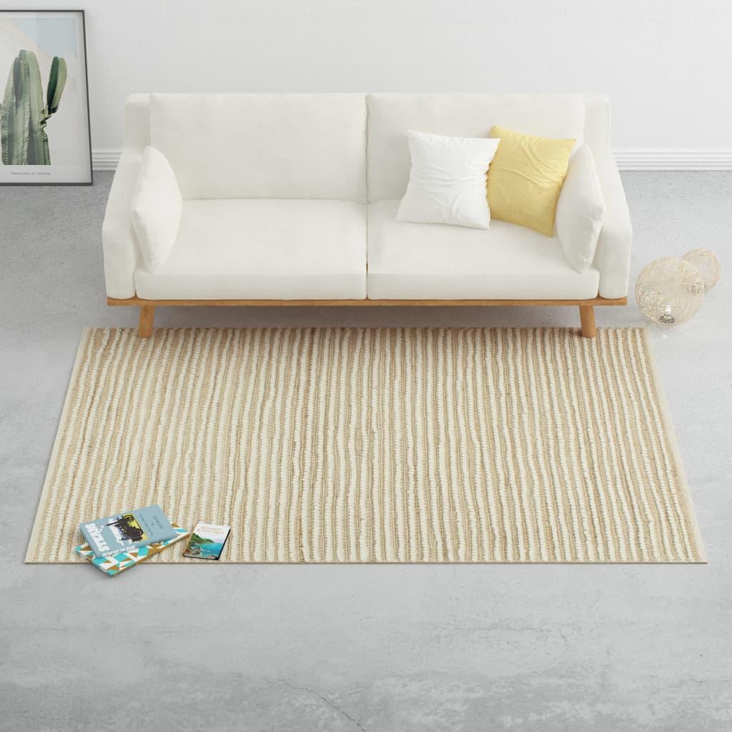vidaXL Teppich Hanf Wolle 80×150 cm Natur/Weiß