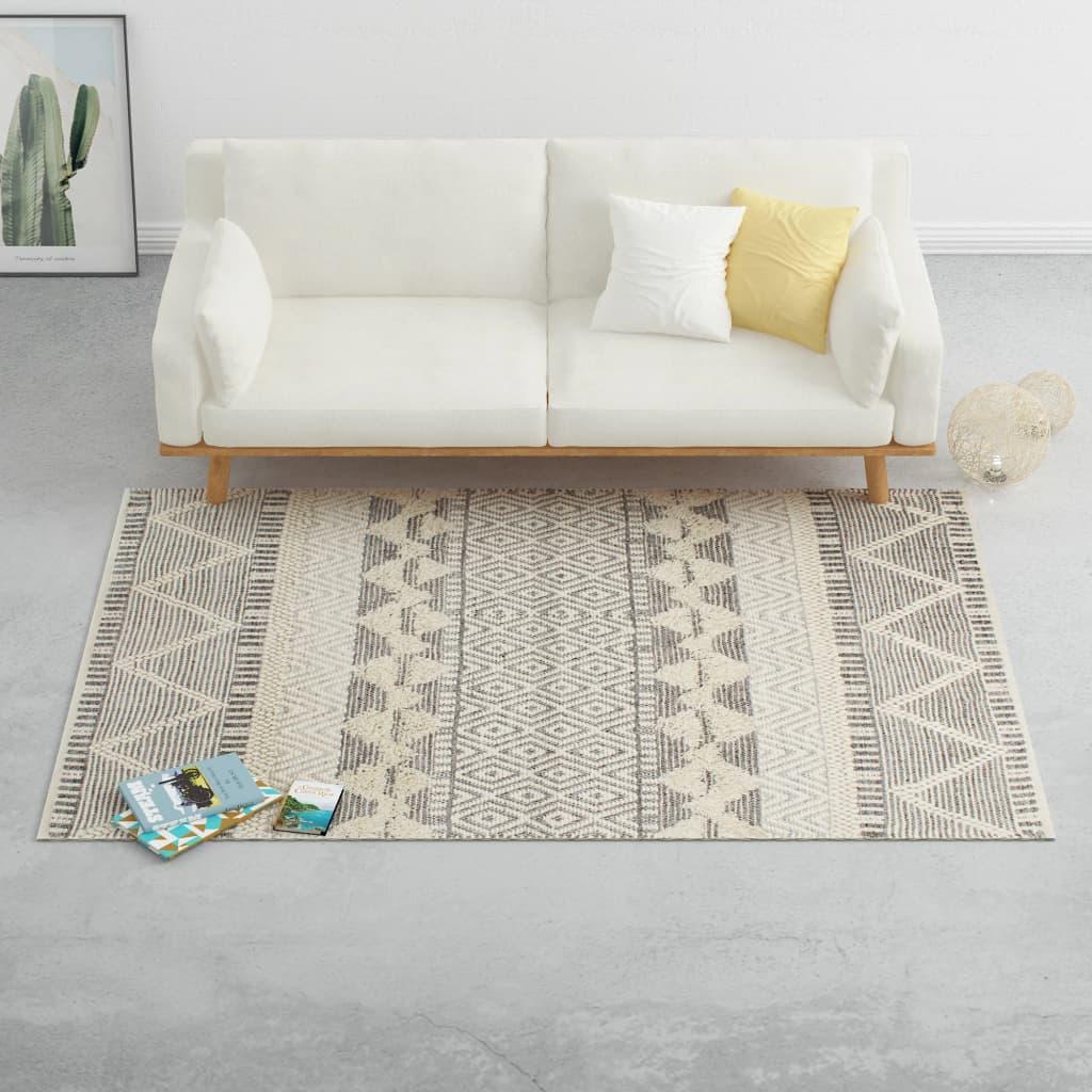 vidaXL gulvtæppe 120 x 170 cm håndvævet uld hvid/grå/sort/brun
