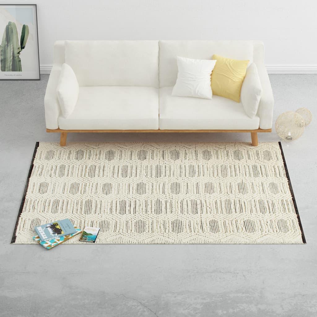 vidaXL Covor lână țesut manual, 120 x 170 cm, alb/negru vidaxl.ro