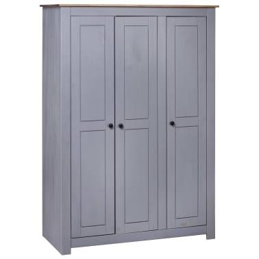 vidaXL Garde-robe 3 portes Gris 118x50x171,5 cm Pin Assortiment Panama[1/7]