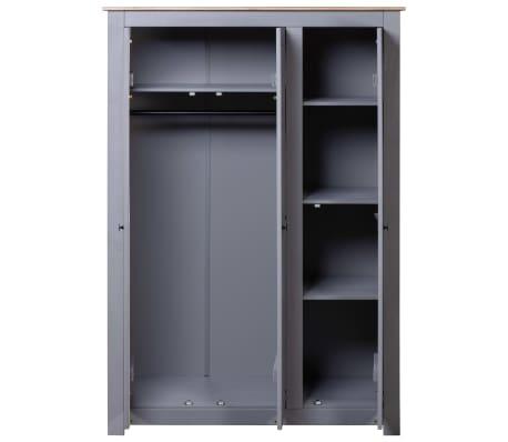 vidaXL Garde-robe 3 portes Gris 118x50x171,5 cm Pin Assortiment Panama[3/7]