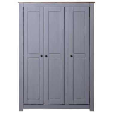 vidaXL Garde-robe 3 portes Gris 118x50x171,5 cm Pin Assortiment Panama[2/7]