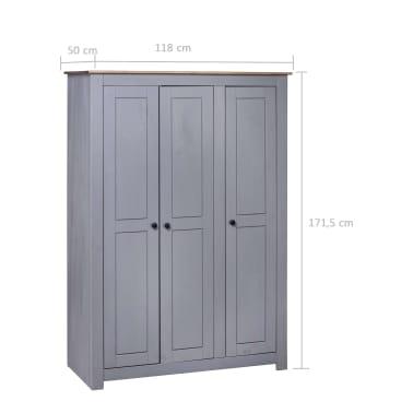 vidaXL Garde-robe 3 portes Gris 118x50x171,5 cm Pin Assortiment Panama[7/7]