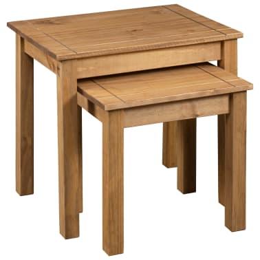 vidaXL Tables gigognes 2 pcs Bois de pin massif Assortiment Panama[3/6]