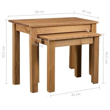 vidaXL Tables gigognes 2 pcs Bois de pin massif Assortiment Panama[6/6]