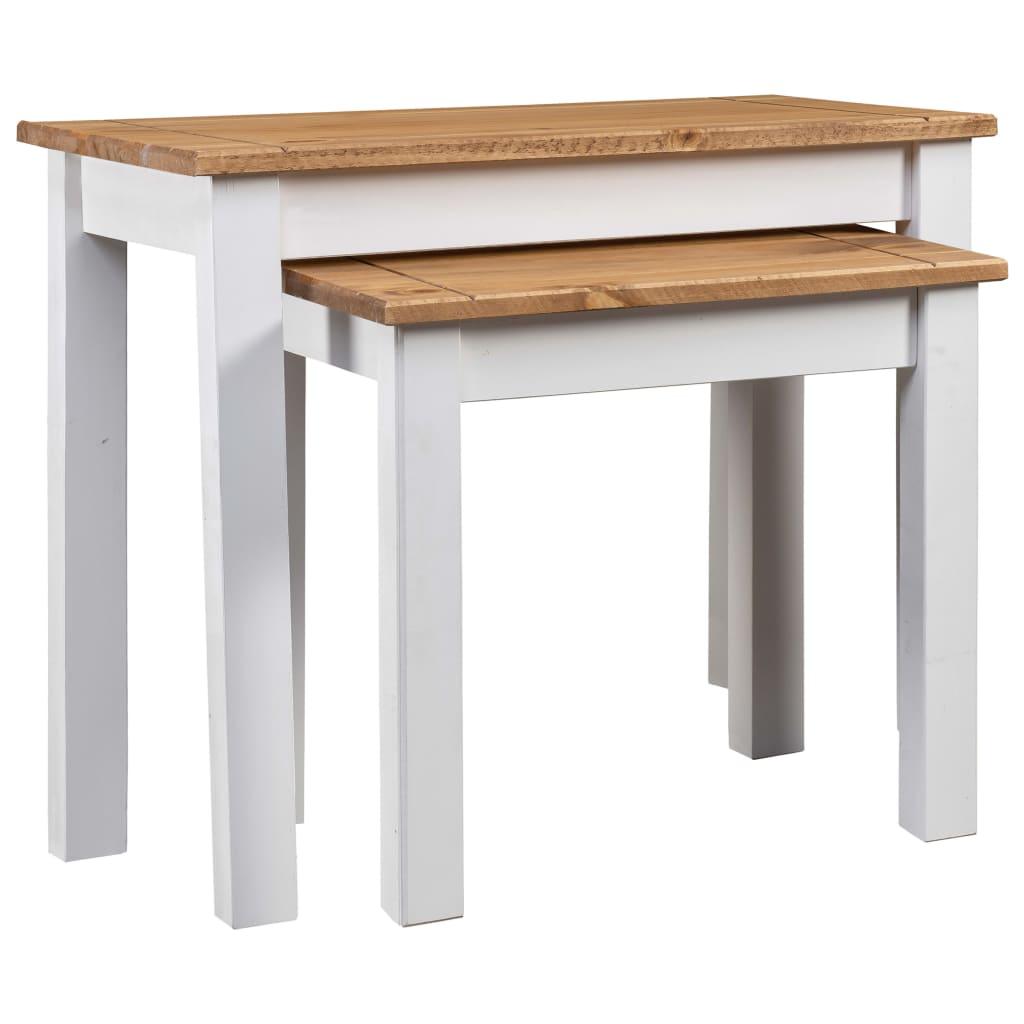 vidaXL Mese suprapuse, 2 buc., alb, lemn masiv de pin, gama Panama poza vidaxl.ro