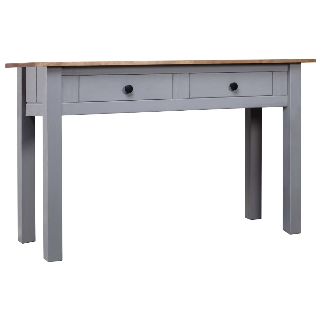 vidaXL Masă consolă, gri, 110x40x72 cm, lemn masiv de pin, gama Panama poza vidaxl.ro