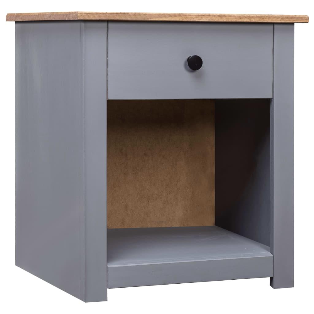 vidaXL Noční stolek šedý 46 x 40 x 57 cm masivní borovice řada Panama