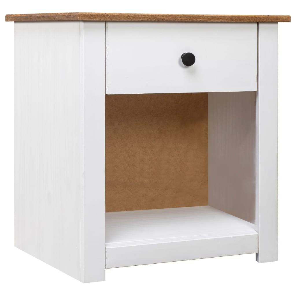 vidaXL Noční stolek bílý 46 x 40 x 57 cm masivní borovice řada Panama