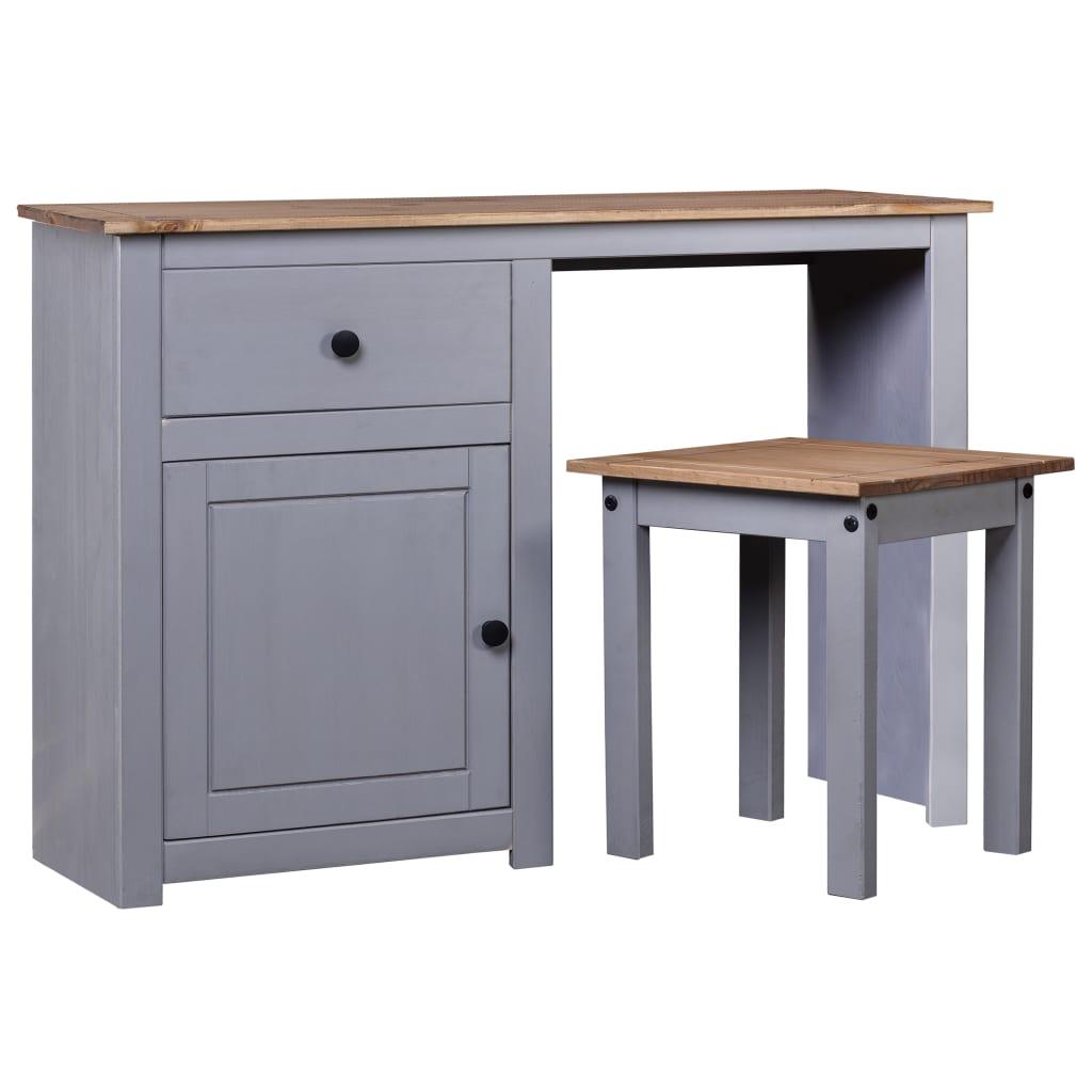 Toaletní stolek se stoličkou šedý masivní borovice řada Panama