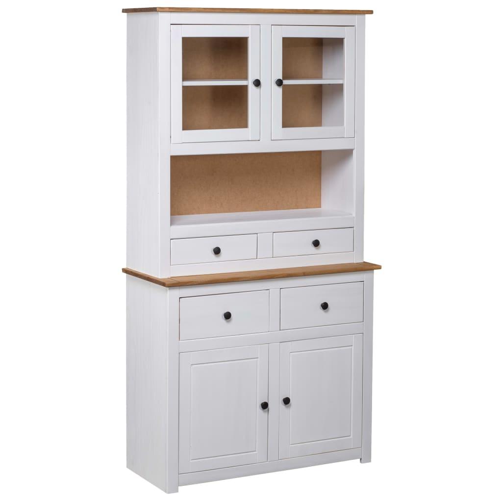 99282702 Highboard Weiß 93×40,5×180 cm Kiefer Massivholz Panama Serie