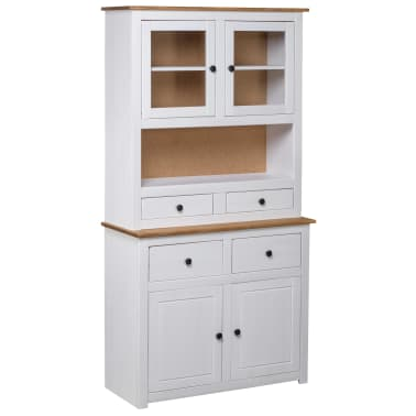 vidaXL Bufet înalt, alb, 93x40,5x180 cm, lemn masiv pin, gama Panama[1/7]