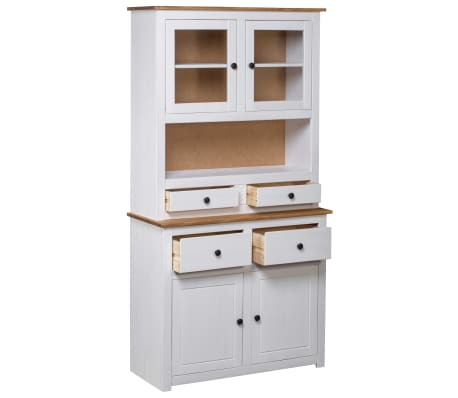 vidaXL Bufet înalt, alb, 93x40,5x180 cm, lemn masiv pin, gama Panama[2/7]