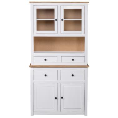 vidaXL Bufet înalt, alb, 93x40,5x180 cm, lemn masiv pin, gama Panama[3/7]