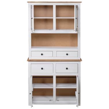 vidaXL Bufet înalt, alb, 93x40,5x180 cm, lemn masiv pin, gama Panama[4/7]