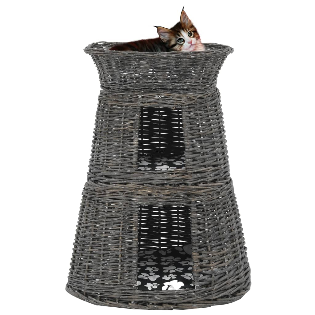 vidaXL 3dílný pelíšek pro kočky s poduškami šedý 47 x 34 x 60 cm vrba
