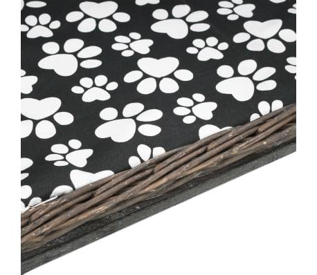 vidaXL Pasja košara z blazino siva 50x33x35 cm naravna vrba[5/6]