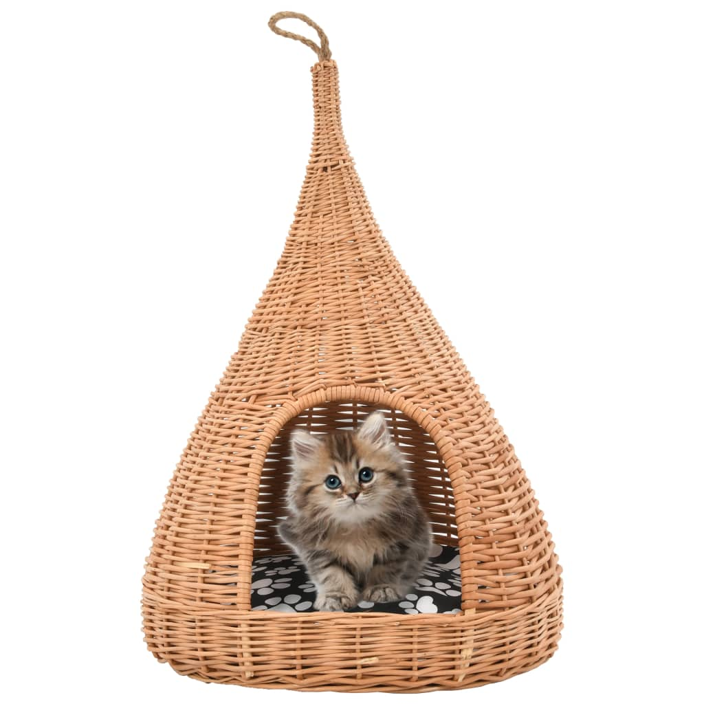 vidaXL Domeček pro kočky s poduškou 40 x 60 cm přírodní vrba týpí